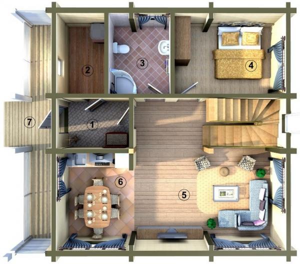 Pelan Lantai Dasar 1 Ruang Masuk 2 Blok Rumah 3 Bilik Mandi 4 Tidur Nurseri Belajar 5 Tamu 6 Dapur