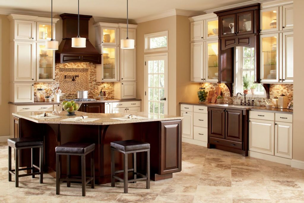 The Kitchen Is A Combination Of Beige And Brown Beige Kitchen