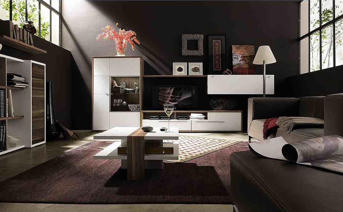 Living room with dark. Living room in dark colors: we choose