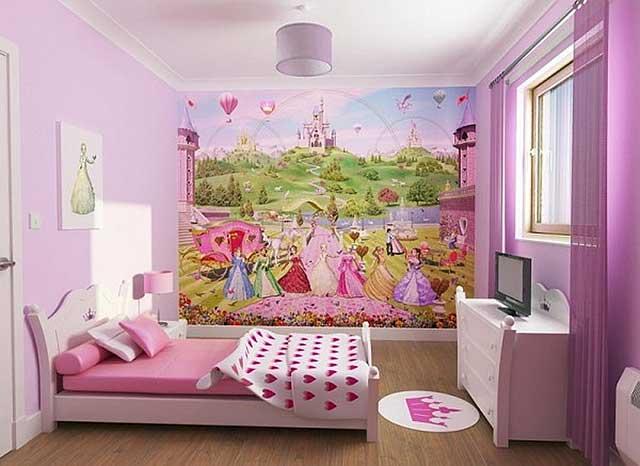 Bilik Tidur Untuk Kanak Perempuan Di Nada Lilac