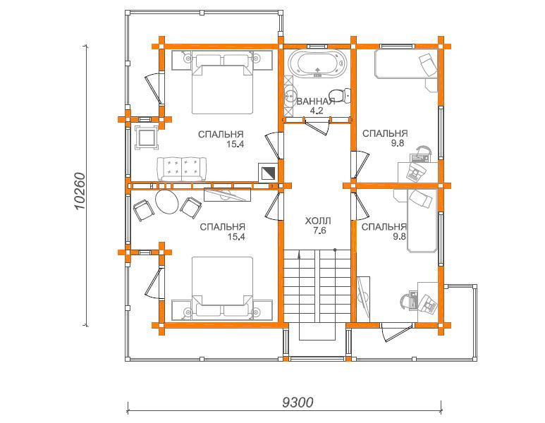 مخطط لمبنى سكني 10x10